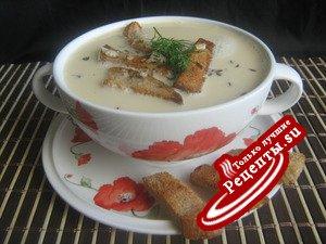 Пивной суп с тминно-чесночными сухариками.