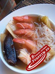 Постный Китайско-Русский суп с креветками за 5мин.