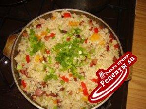 Рис с копченостями и сладким перцем