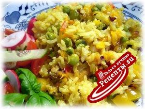 Рис с овощами в горшочках