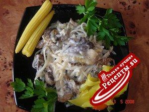 Рисовая лапша в сливочно-грибном соусе