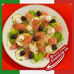 САЛАТ из цуккини с оливками и лососем (Insalata di zucchine con olive e salmone)