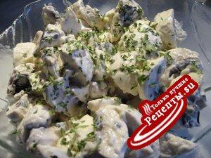 Салат из сырых шампиньонов к шашлыку