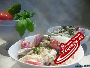 Селедочный салат с белыми грибами и шампиньонами