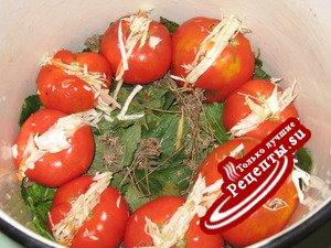 Соленые фаршированые помидоры