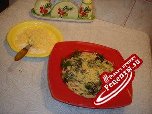 Спагетти под соусом из зеленого лука с мятой