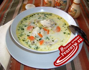 Спаржевый-куриный суп со сливками и галушками
