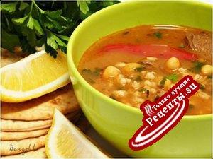 Суп из баранины, с нутом и перловкой (Chorba frik)