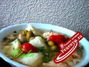 Суп рыбный с маринованными помидорками