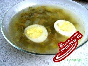 Суп щавелевый на курином бульоне (мой вариант)