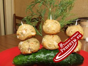 закусочные шарики с креветками и крабовыми палочками