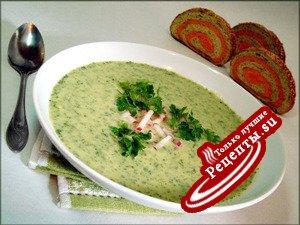 """Зелёный суп-пюре с кольраби """"Витаминка""""."""